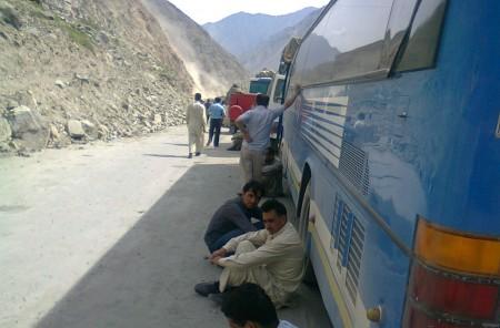 File photo: Passengers stranded on the KKH