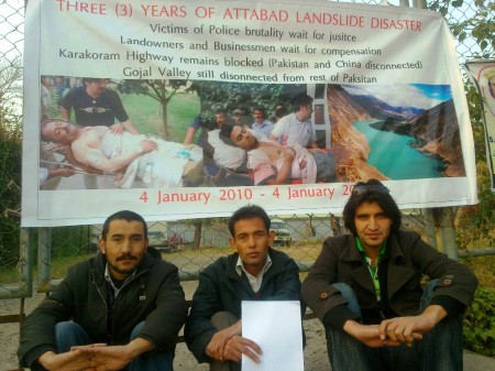 Islamabad: Three activists from Gojal Valley demonstrating in front of National Press Club. PR