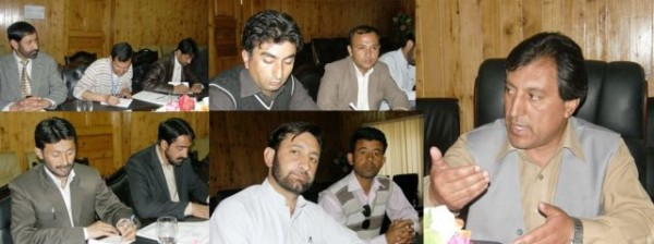 Dr. Ali Madad Sher briefing journalists about GB cabinet's decisions
