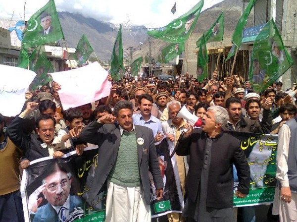 Led by APML Chief Organizer Karim Khan the protesters demanded release of Pervez Musharraf