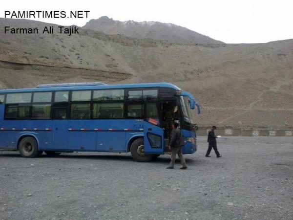 Sost: The first bus from China reached Sost today. Photo: Farman Ali Tajik