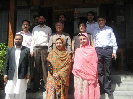 Group photo of the cabinet members with Dr. Mir Ahmed Jan and Ali Madad Sher, Education Minister