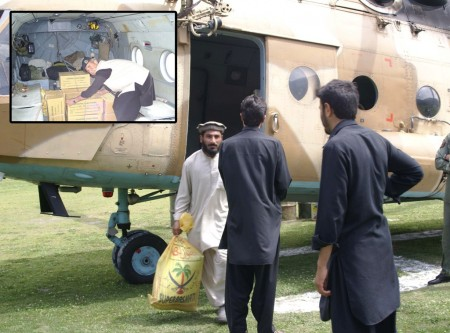 Choppers carrying ballot boxes reached Chitral today. Photo: Gul Hammad Farooqi