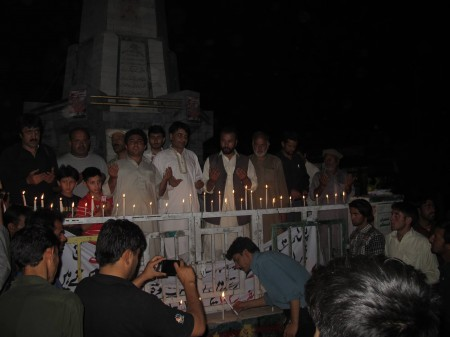 Skardu: People held a candle light vigil in middle of the city in memory of the slain tourists