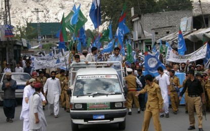 JI stages rally in Gilgit against Morsi overthrow