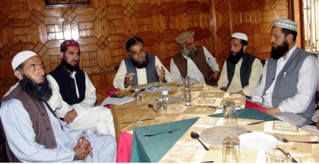 Leaders of TASWJ addressing a press conference in Gilgit
