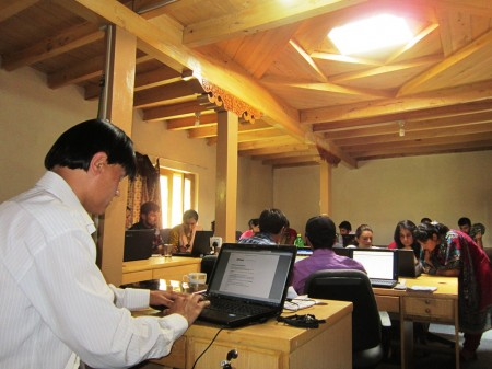 Youth receiving training on online resource mobilization in Gulmit i-Tech Training Center.