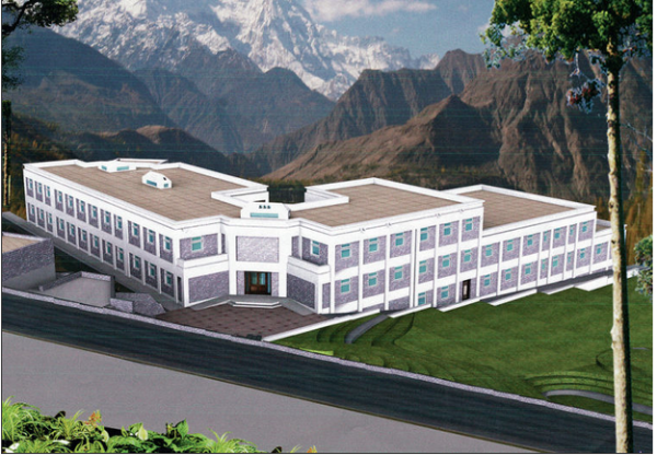 Santa Fe native Diana MacArthur is planning and funding a school for children in Pakistan's remote Hunza Valley. An artist's rendering of the proposed building shows the school surrounded by the peaks of the Himalayas. Courtesy Design Matrix