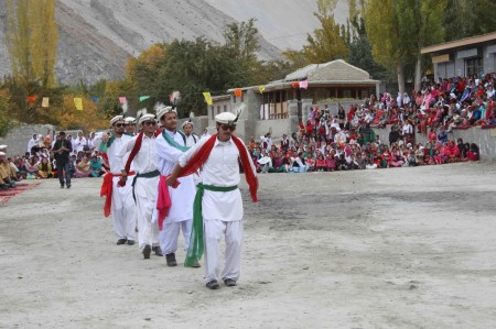Members of the Silver Jubilee Band perform Abiso Nat, a traditional dance of the Burushaski speaking community. The dance symbolized appreciation and celebration of diversity, i.e. pluralism. Photo: Mueez Shah