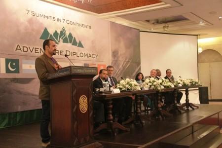 Mirza Ali sharing his views at the reception. Photo: Suhail Ahmed