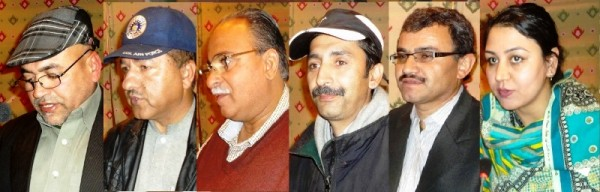 Speakers addressing a gathering held in Gilgit