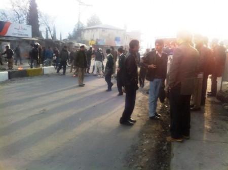 protesters had also blocked the Shahrah-e-Quaid Azam in the Jutial area