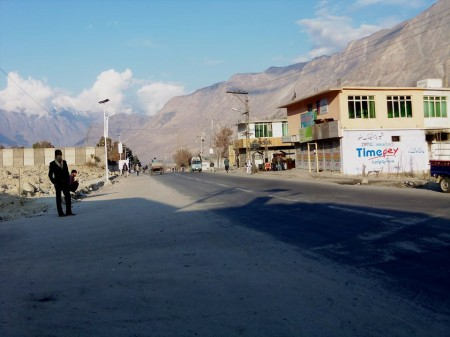 A road in Jutial area of Gilgit wears a deserted look