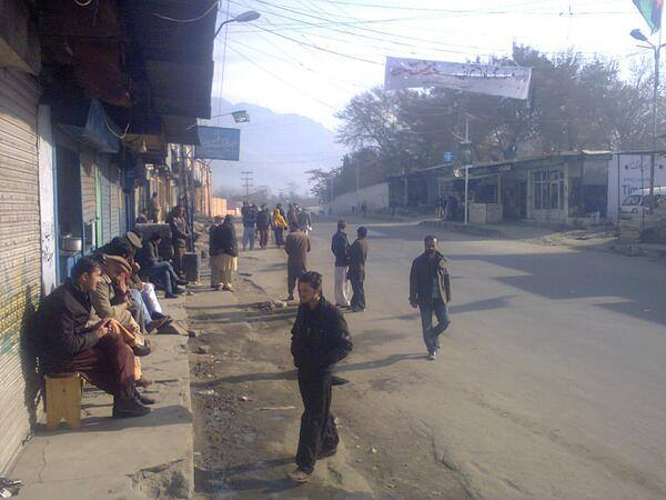 Gilgit city wearing a deserted look due to high security: Photo: Tauseef Hassan