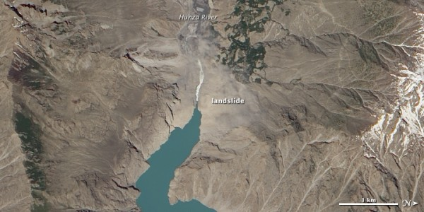 The Hunza River was dammed due to a mega landslide near Attabad on January 4, 2010.