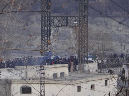 Protesters blocking a bridge that connects Gilgit city with Konodas area