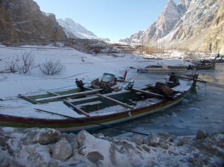 The boats cannot operate when the lake freezes. There is no other mean for transporting patients out of the region. Photo: Mirbaz Khan