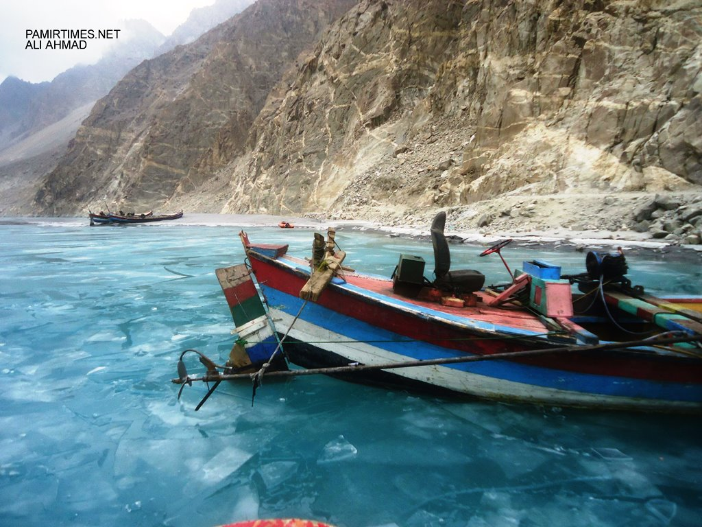 Boats waiting for passengers in Gulmit. Passengers come from all parts of Gojal Valley, which has a population of more than 25,000 people