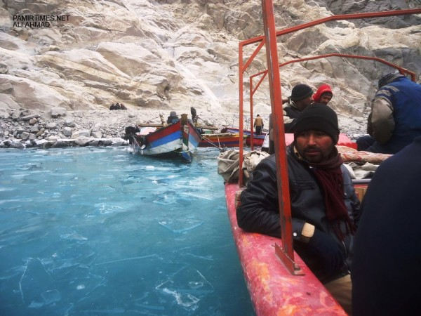 Thousands of passengers commute between the dammed river's spillway and Shishkat, Gulmit, two villages of the Gojal valley