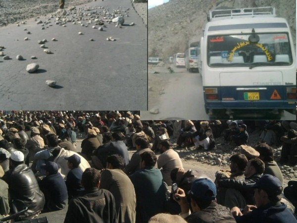Protesters have piled stones in middle of the road. Photo: