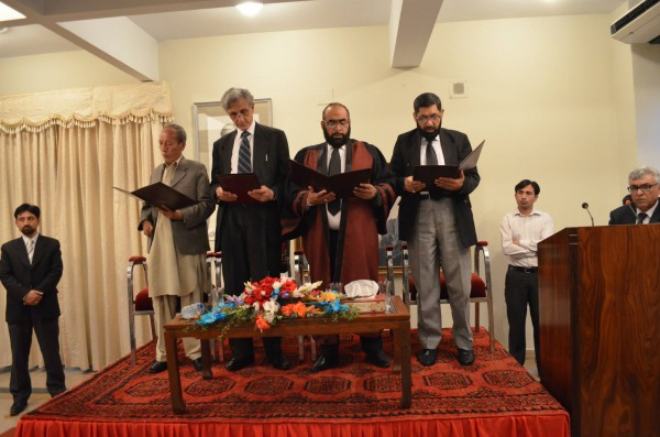 Oath is being administered to the newly appointed members of the Gilgit-Baltistan Services Tribunal