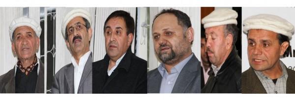 L-R: Gohar Shah, Darjat Muhammad, Farman Ali, Ghulam Amin Beg, Karim Khan and Haider Murad