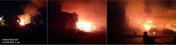 Chilas: The fire reportedly erupted in a wooden cabin and engulfed the entire vegetable market, leading to the death of a laborer. Photo: Khursheed A. Jan