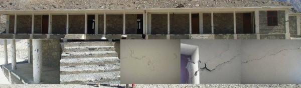 Cracks in the school building visible in combo