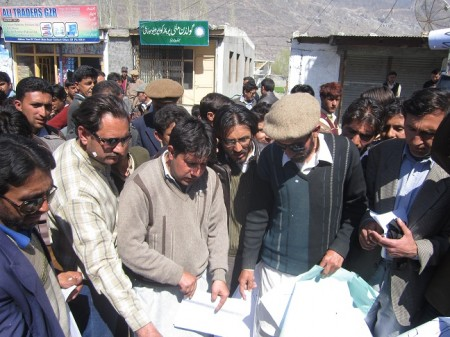 """""""Degrees and a copy of the Gilgit-Baltistan Empowerment Ordinance is being set on fire"""""""