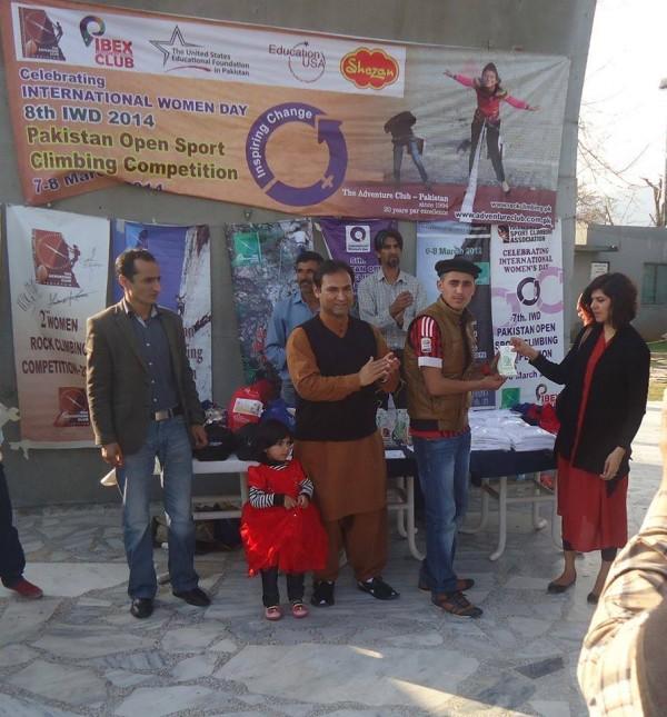 Ajmal Yaqoob, student of Aga Khan Higher secondary school Gilgit is receiving first position award on National climbing championship (7-8 Feb 2014). He belongs to Gilgit Baltistan.