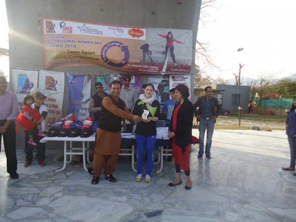 Rozina Zafar from Gojal got second position in 7th National Climbing competition and is receiving award from Director General sports board G.B Mr. Amjal Bhattee..