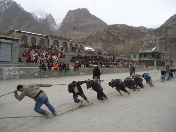 Tug of war competition in progress in the Gulmit Shawaran (Polo Ground)