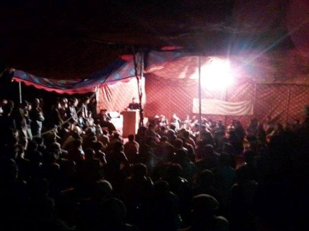 Protesters at the strike camp at night in Gilgit
