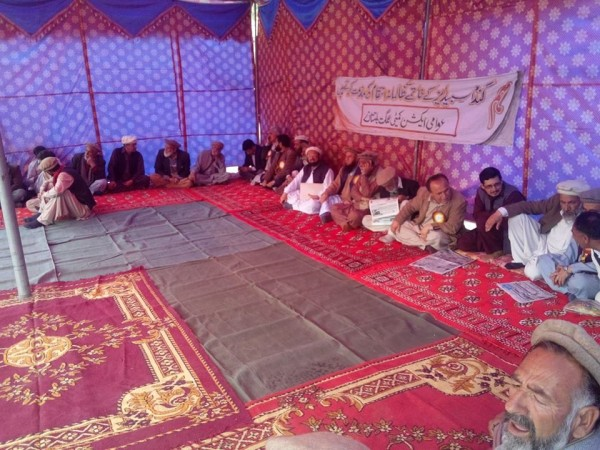 A Dharna camp has been established in the historical Gari Bagh area. Photo: Karim Sarkhili