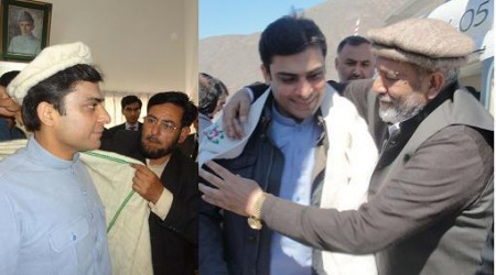Hamza Shahbaz was greeted by party leaders and officials on arrival in Diamer