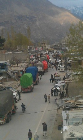 Aliabad (Hunza): Vehicles stuck in the region due to closure of KKH as a result of the strike. Photo: Mueez Shah