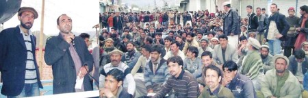 Gahkuch: Speakers addressing a rally on the third day of the strike in Ghizar