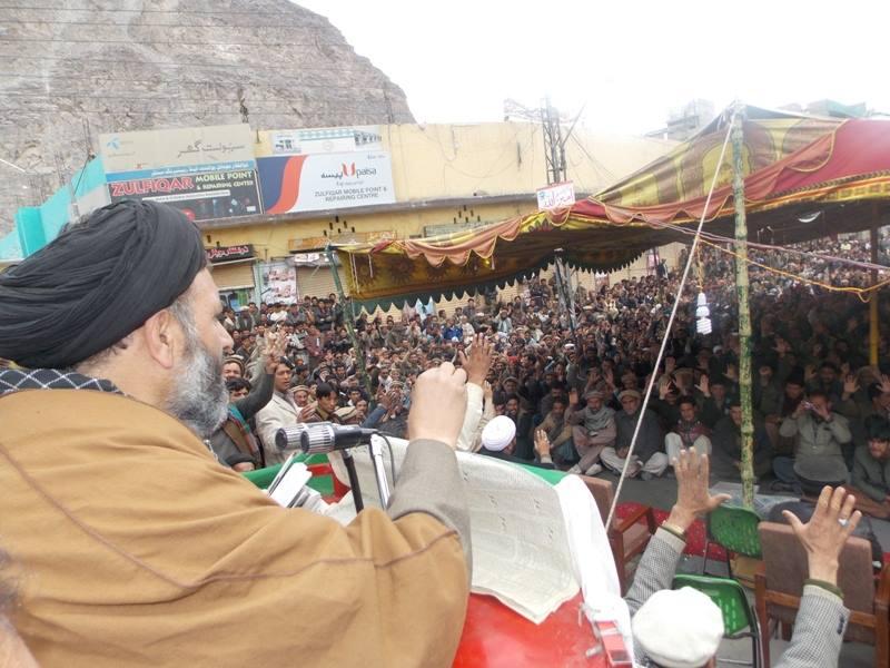 Skardu: General Secretary of MWM addressing the protesters . Photo: Raza Qaisar