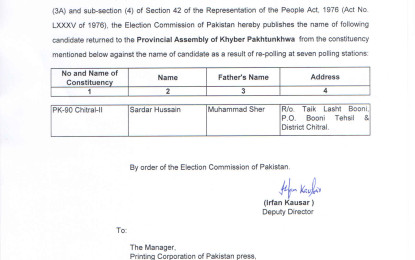 ECP notifies victory of Sardar Hussain from PK-90, Chitral