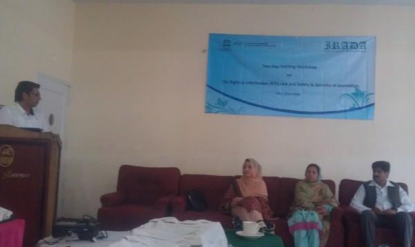 Information Minister Sadia Danish, former Education Advisor Noorul Ain and Khursheed Ahmad, President Gilgit Press Club at the concluding ceremony of the training workshop. Photo: Hussain Nagri