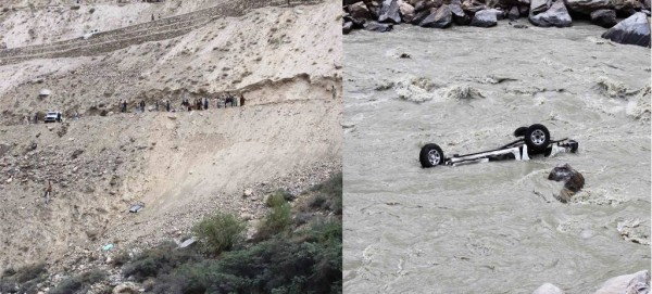 Nagar: The vehicle can be seen in middle of the river. Photo: Mueez Shah