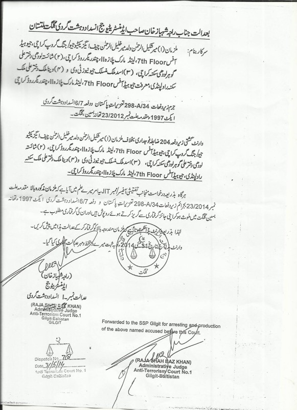 A copy of the warrant
