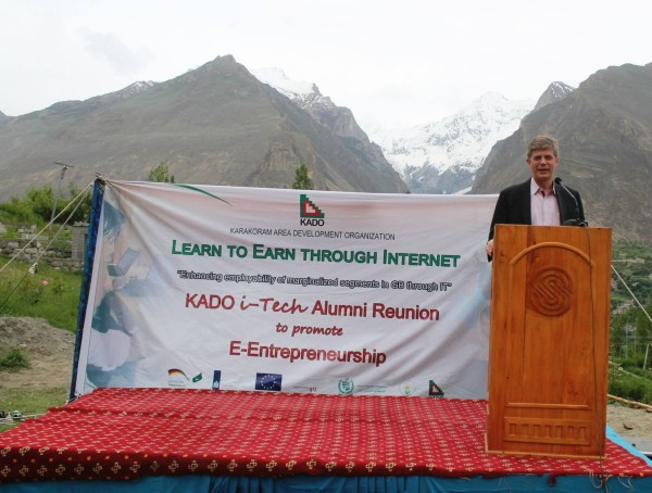 The EU ambassador addressing the participations of an alumni reunion. Photo: Nazim Ullah Baig