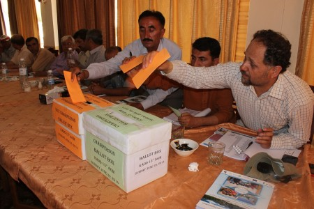 Votes are being cast for election of the new chairman and vice chairman