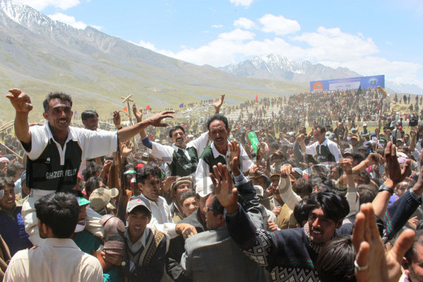 Ghizar polo team celebrating after their victory against Team Laspur at Shandur in 2011. PT File Phone