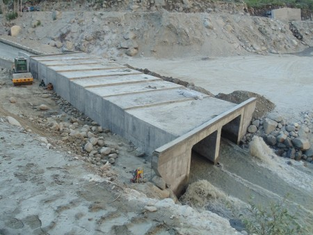 Two culverts that are being constructed instead of a bridge that had been destroyed by the surging Hunza River in 2010. PT Photo
