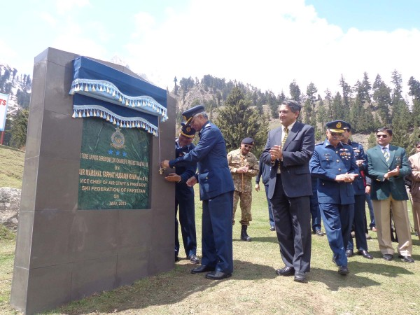 Air Marshal Farhat Hussain inaugurating work on the project last year. PT File Photo