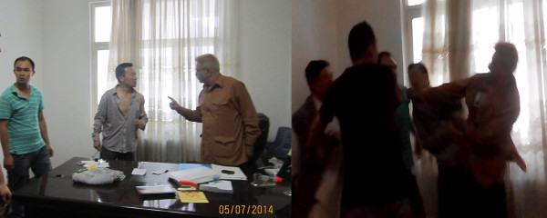 These two photographs were shared with Pamir Times by Gul Sher Khan, the port's PRO.  He claimed that the Chinese official was beaten up. On the other side, Zafar Iqbal has said that he was attacked inside his office with a knife/clip and that he resisted the attack to save his life