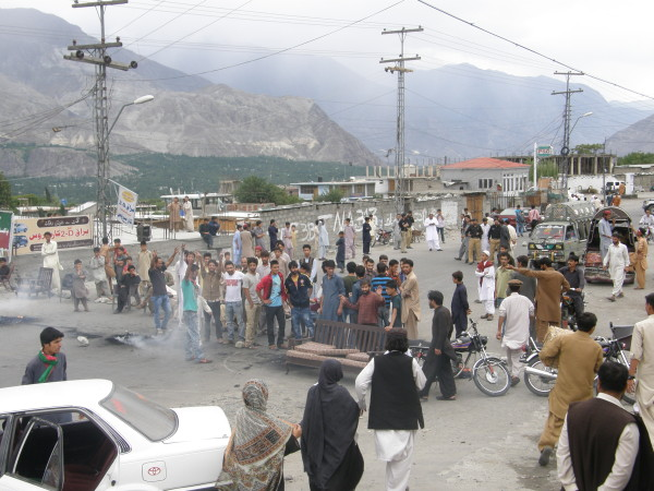 Gilgit: The road was blocked for several hours by the protesters