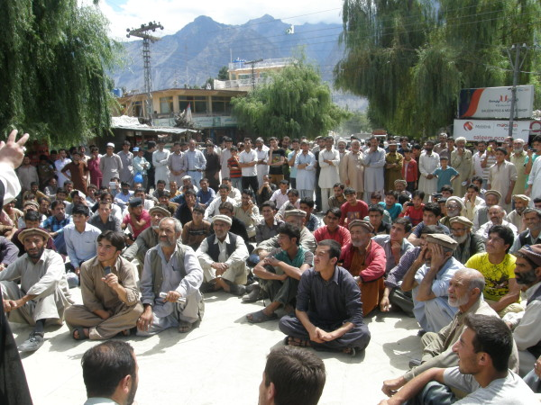 Sit-ins were held in several places in Skardu and Gilgit